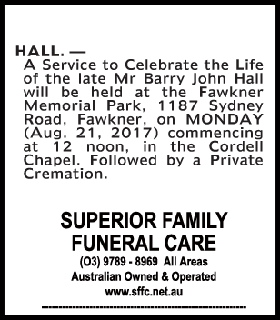 Mr Barry John Hall Funeral Notice