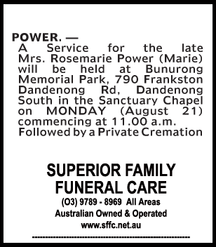 Mrs Rosemarie Power (Marie) Funeral Notice