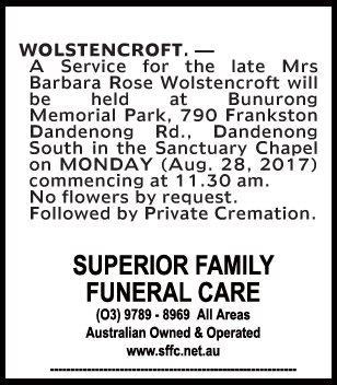 Mrs Barbara Rose Wolstencroft Funeral Notice