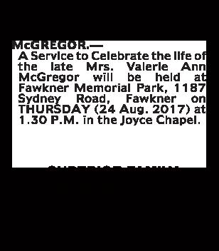Mrs Valerie Ann McGregor Funeral Notice