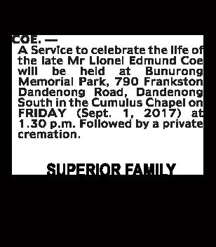 Mr Lionel Edmund Coe Funeral Notice