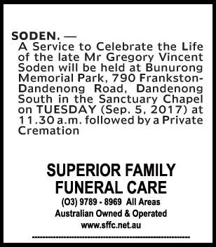 Mr Gregory Vincent Soden Funeral Notice