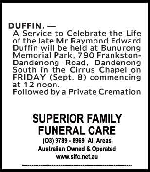 Mr Raymond Edward Duffin Funeral Service
