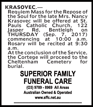 Mrs Nancy Krasovec Funeral Service