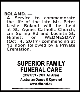 Mr Peter Leslie Boland Funeral Notice