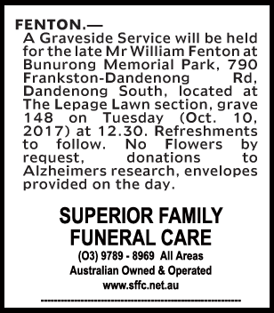Mr William Fenton Funeral Notice
