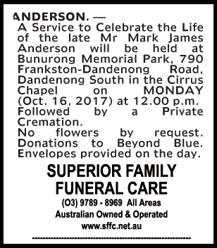 Mr Mark James Anderson Funeral Notice