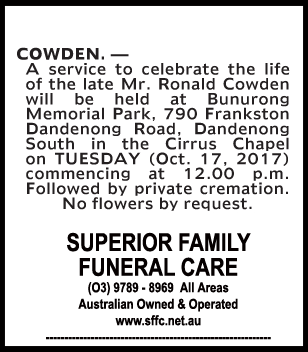 Mr Ronald Cowden Funeral Notice