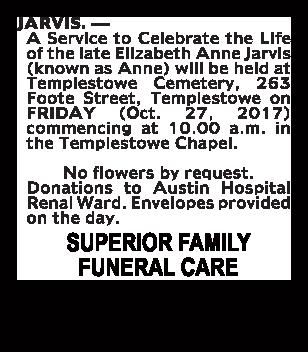 Elizabeth Anne Javis Funeral Notice