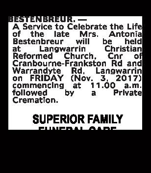 Mrs. Antonia Bestenbreur Funeral Notice