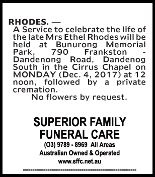 Funeral Notice for Mrs Ethel Rhodes