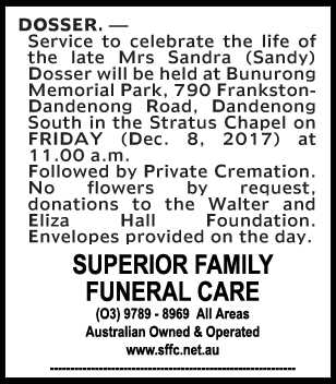 Funeral Notice for Mrs Sandra (Sandy) Dosser