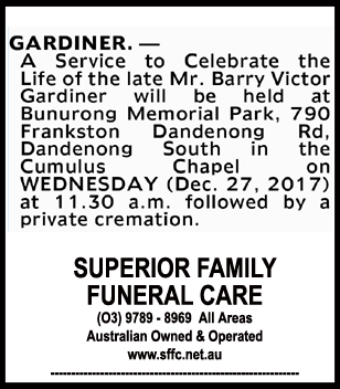 Funeral Notice for Mr Barry Victor Gardiner