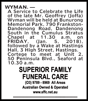 Funeral Notice for Mr Geoffrey (Joffa) Wyman