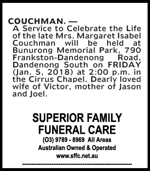 Funeral Notice for Mrs Margaret Isabel Couchman