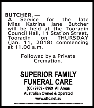 Funeral Notice for Miss Katrina Jane Butcher