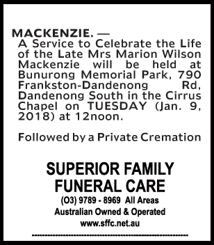 Funeral Notice for Mrs Marion Wilson Mackenzie