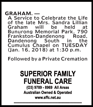 Funeral Notice for Mrs Sandra Lillian Graham