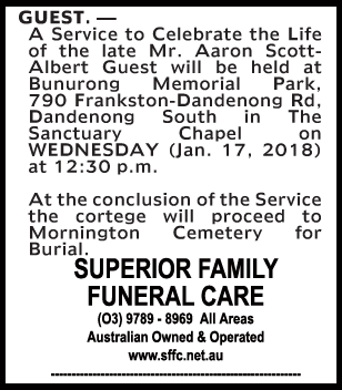 Funeral Notice for Mr Aaron Scott-Albert Guest