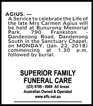 Funeral Notice for Mrs Carmen Agius