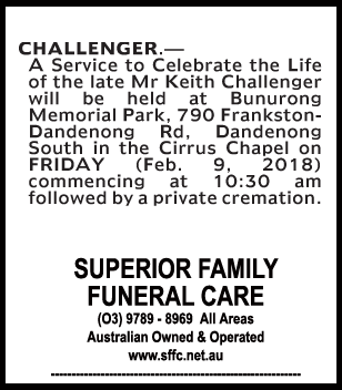 Funeral Notice for Mr Keith Challenger