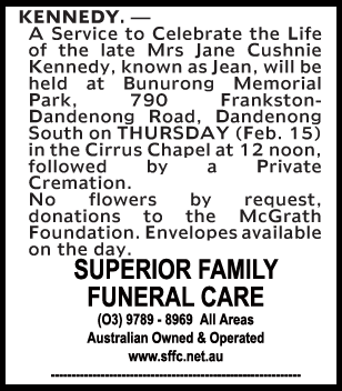 Funeral Notice for Mrs Jane Cushnie Kennedy