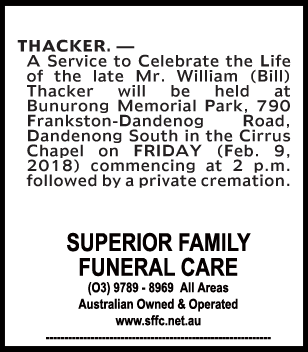 Funeral Notice for Mr William (Bill) Thacker