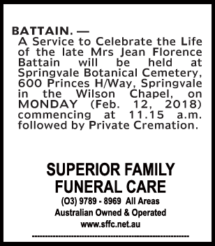 Funeral Notice for Mrs Jean Florence Battain