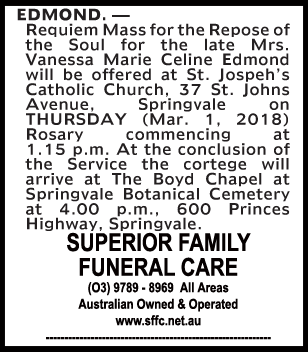 Funeral Notice for Mrs Vanessa Marie Celine Edmond