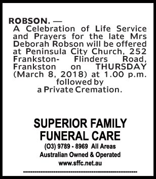 Funeral Notice for Mrs Deborah Robson