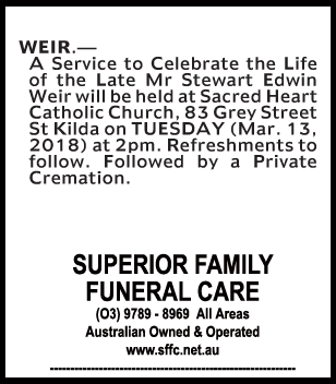 Funeral Notice for Mr Stewart Edwin Weir