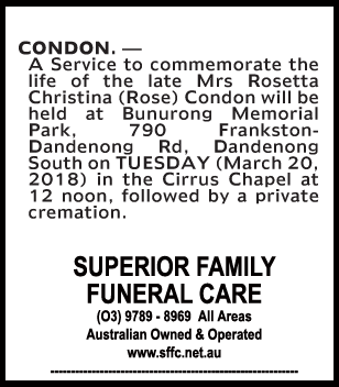 Funeral Notice for Mrs Rosetta Christina (Rose) Condon