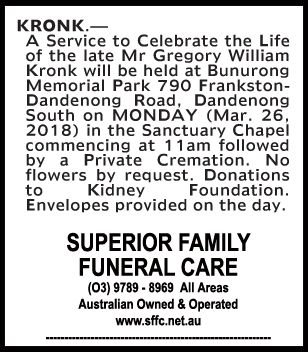 Funeral Notice for Mr Gregory William Kronk