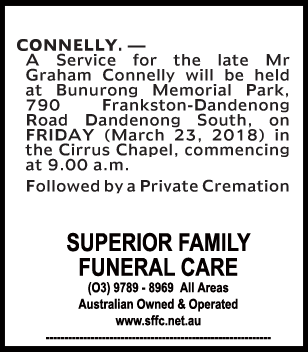 Funeral Notice for Mr Graham Connelly