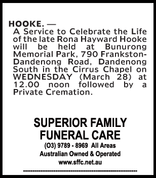 Funeral Notice for Rona Haywood Hooke