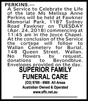 Funeral Notice for Ms Melissa Anne Perkins