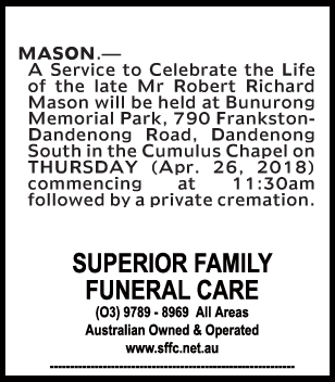 Funeral Notice for Mr Robert Richard Mason