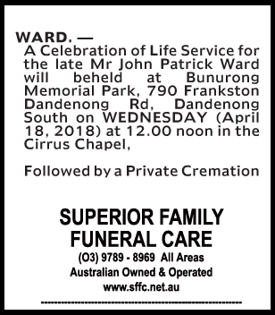 Funeral Notice for Mr John Patrick Ward