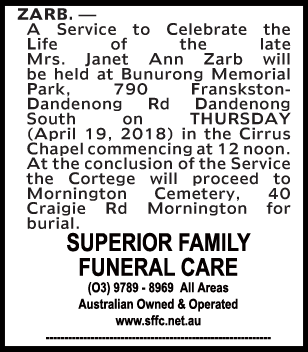 Funeral Notice for Mrs Janet Ann Zarb