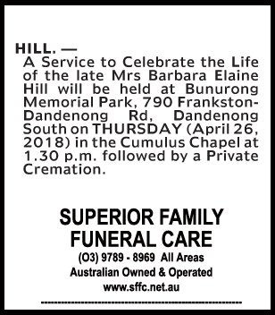 Funeral Notice for Mrs Barbara Elaine Hill