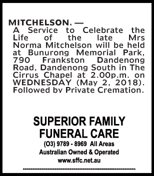 Funeral Notice for Mrs Norma Mitchelson