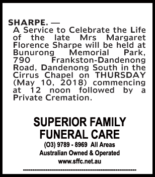 Funeral Notice for Mrs Margaret Florence Sharpe