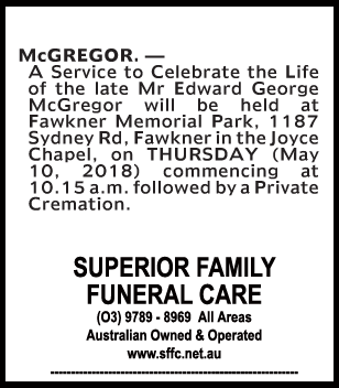 Funeral Notice for Mr Edward George McGregor