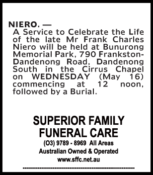 Funeral Notice for Mr Frank Charles Niero