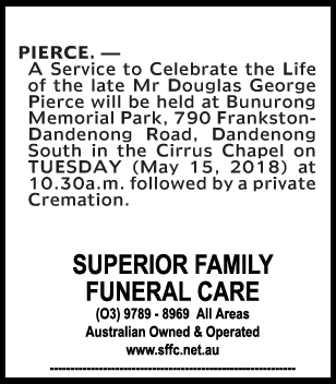 Funeral Notice for Mr Douglas George Pierce