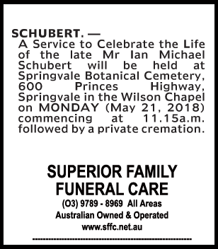 Funeral Notice for Mr Ian Michael Schubert