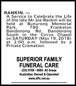 Funeral Notice for Mr Joe Rankin