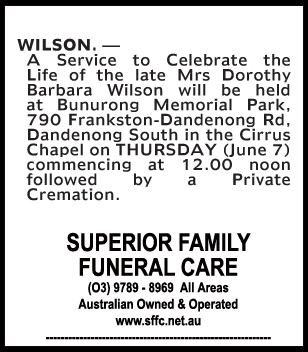 Funeral Notice for Mrs Dorothy Barbara Wilson