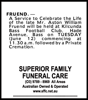 Funeral Notice for Mr Aston William Fruend