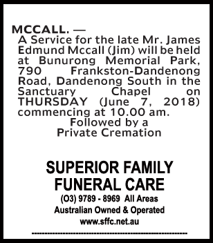 Funeral Notice for Mr James (Jim) Edmund Mccall